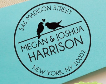 CUSTOM ADDRESS STAMP, personalized pre inked address stamp, pre inked custom address stamp, return address stamp with proof CircleLovebirds2