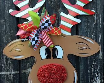 Rudolph door hanger, Christmas door hanger, wooden door hanger