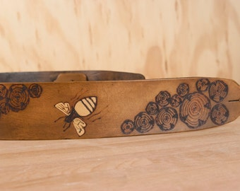 Guitar Strap - Leather Guitar Strap - Worker Bee Pattern with bees and wood rounds in antique brown - Acoustic or Electric Guitars