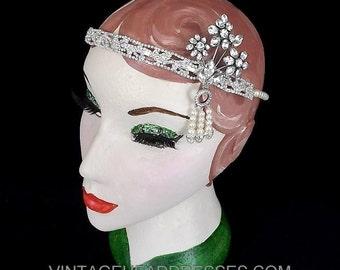 Vintage Great Gatsby Headpiece, Great Gatsby Headband, 1920's Art Deco Headpiece, Flapper Headband, Wedding Headpiece, Bridal, Gatsby Party
