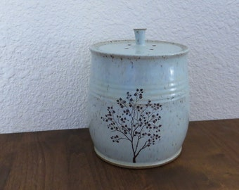 Compost Crock - Handmade Stoneware Pottery Ceramic - Hinting Blue and White - Tree - 1-1/2 Quart