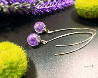 Flower Earrings, Resin Earrings, Nature Jewelry, Flower Jewelry, Real Flower Earrings, Crystal Earrings, Handmade Earrings, Purple Earrings