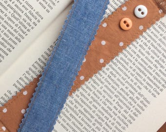 Eco recycled fabric bookmark Brown with white dots