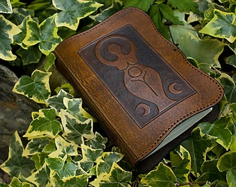 A6, Standard, Leather Bound Journal, Triple Goddess Journal, Moon Goddess, Brown Leather, Book of Shadows, Leather Notebook, Personalized.
