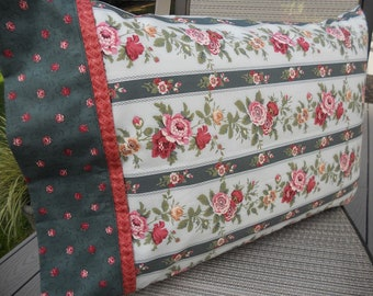 Floral Pillowcase, Rosehill, Roses, Fresh New Fabrics, Guest Room Bedding, B and B Linens, Guesthouse, Standard Size Pillowcase