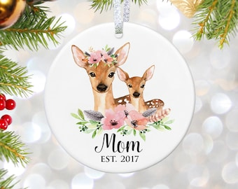 Baby Shower Gift Pregnancy Gift for New Mom Gifts New Baby Gift for Mom to Be Mother Ornament Pregnant Gift Mother and Baby Deer Ornament