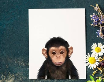 Chimpanzee print, Nursery animal print, PRINTABLE art, Monkey, Safari animals, Nursery decor, Baby animals, Jungle, The Crown Prints Shop