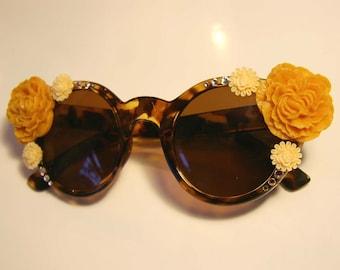 Butterscotch Blooms Round Cat Eye Tortoise Sunglasses Accessory by Cutie Dynamite Sunnies Cute kawaii Retro Pinup