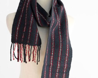 merino wool scarf, hand woven scarf, blue gray red stripe, gift for her, handwoven, gift for him, mens scarf, womens scarf, SpunWool