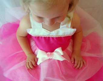 Aurora Dress: Sleeping Beauty Tutu Dress, hot pink light pink and white, birthday party, princess dinner trip, adjustable, halloween costume