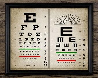 Vintage Eye Chart Print - Human Eye Anatomy - Eye Chart Poster - Optician Gift Wall - Optometry Art - Single Print #786 - INSTANT DOWNLOAD
