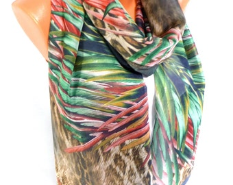 Scarf, Shawl, Chiffon Scarf, Leopard Printed, Womens Fashion Accessories, Lightweight Summer Scarf, Gifts for Mothers day for Christmas