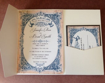 French, romantic, vintage wedding invitation and RSVP card suite. printed.