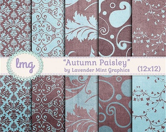 Autumn Paisley Digital Scrapbook Printable Paper, Blue and Teal in Damask, Floral, and Paisley Patterns - Instant Download, Commercial Use