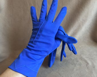 Blue Vintage Gloves, Blue Small Gloves, Size 6, 50's Style, Rockabilly, Retro, Pin Up Style, Bright Blue Stretch Nylon, Vegan Friendly