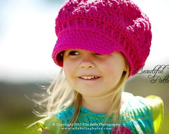 Crochet Hat Pattern Girl Crochet Hat Newsboy Hat Slouchy Beanie PDF 160 12 Month to Adult Photography Prop Instant Download
