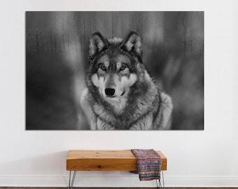 Grey wolf Canvas print,  wolf wall art, Canvas Print. wall art, black and white wall art, Wall art, Gray Wolf canvas print, large canvas.