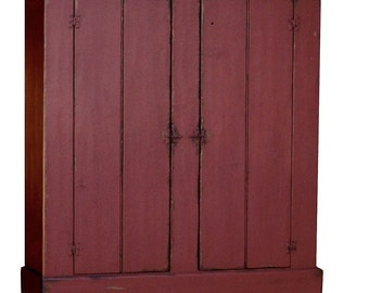 Painted Primitive Farmhouse Furniture Kitchen Cupboard Cabinet Armoire  Wardrobe Reproduction Early American Colonial Country Furniture
