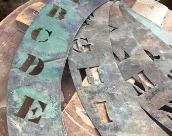 Vintage Copper Brass Stencil Alphabet and Numbers Set