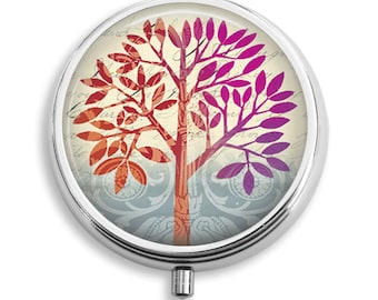 Pill Box Pill Case Orange and Pink Tree Pill Holder Pill Container Trinket Box PillBox Vitamin Holder Medicine Box Mint Tin Gift For Her