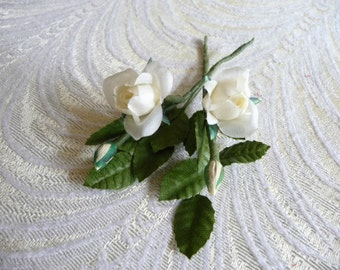 Small white roses etsy tiny roses with buds for dolls corsages boutonnieres two stems vintage nos for crafts creamy white ivory small silk flowers 3fv0125i mightylinksfo