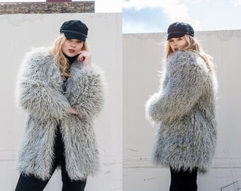 Stella Grey Faux Fur Shag Coat Jacket XS S M L XL XXL