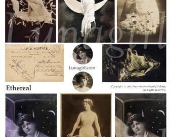 ETHEREAL women digital collage sheet DOWNLOAD vintage images ephemera ladies, art moon goddess myth, Victorian Edwardian risque sepia photos