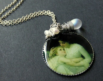 Mother Necklace. Mother and Child Necklace with Clouded Teardrop and Fresh Water Pearl. Handmade Jewelry.