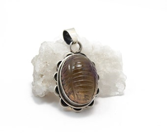 Carved Smokey Topaz Pendant in Sterling Silver 925 Necklace Pendant (free complimentary chain)