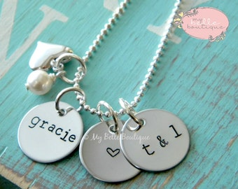 Personalized Hand Stamped Triple Disc Necklace with Silver Heart and Swarovski Pearl Charms