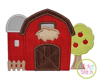 """Barn Silo Tree Applique Design, Sizes 4x4, 5.5"""", 5x7, & 6x10, now available in INSTANT DOWNLOAD"""