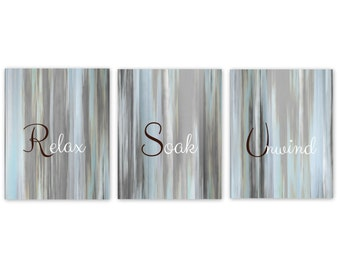 Bathroom Wall Art Relax Soak Unwind Abstract Prints Set Of 3 Prints Home  Decor Light Blue