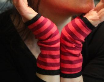 Short glove cuff stripes bicolor rose cotton jersey