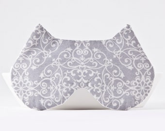 Lace Sleep Mask for Women, Damask Wedding Sleep Mask, Lace Blindfold, Cat Lover Gift, Damask Eye Pillow, Travel Gray Sleep Mask