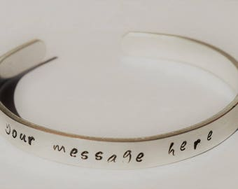 Custom Bracelet Hand Stamped Cuff with Personalized Message