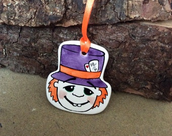 Handmade ceramic 'Mad Hatter' decoration/ gift tag