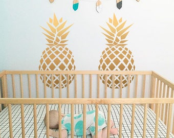 Pineapple wall decal-Gold pineapple decor-Big Pineapple vinyl decals-Pineapple decor-Fruits wall sticker-Pineapple vinyls-For Nursery