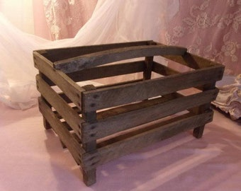 A former originally wooden basket is a basket to potatoes (for germination)