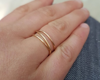 Gold wrap ring, 14K Gold Fill Wraparound ring, gold fill wrap ring, gold stack ring, gold infinity ring