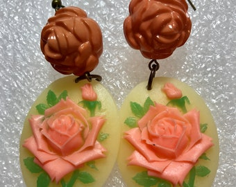 Fantasy earrings with roses - vintage style