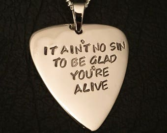 Personalised 925 solid Sterling silver guitar pick pendant