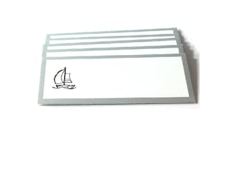 Small Blank Note  Cards , Set Of 6 Mini Note Cards With Envelopes , Nautical Note Cards