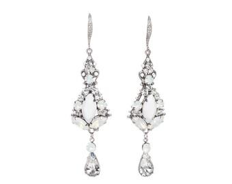 Bridal Chandelier Earrings ,Opal Wedding Earrings, Swarovski Crystal White Opal Statement Earrings, Crystal Chandelier Earrings For Bride