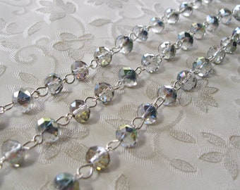 """Faceted AB Rondelle Transparent Green/Purple Glass 6 x 8mm One Meter 39.5"""" Beaded Rosary Link Chain Bright Silver 958-01"""