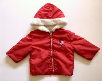 Vintage Toddler Girl's 80's Winter Jacket, Red, White, Hooded, Zip Up (2T)