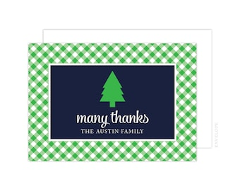 Navy and Green Christmas Thank You Cards, Holiday Thank You Card, Folded Note Card, Christmas Thank You