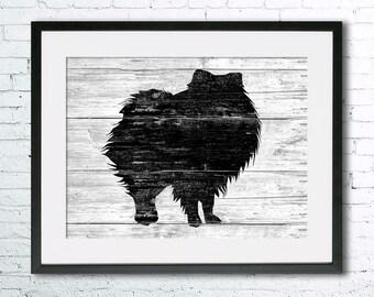 Pomeranian  art illustration print, Pomeranian painting ,dog illustration, Wall art, Rustic Wood art, Animal silhouette