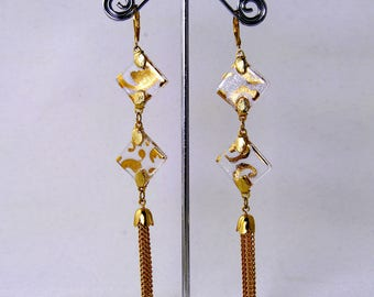 Clear& Gold- Diamonds and Tassels-Fused glass with 24 kt hand painted Gold. Elegant in it's simplicity, it is both trendy and timeless.