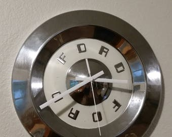 Vintage 1950's Ford Hubcap Clock