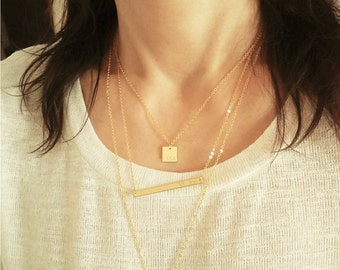 Personalized Square Plate Necklace / Square Pendant Initial Necklace / Name Plate / Monogram Jewelry / Meaning Birthday Gift /  ID  / N277